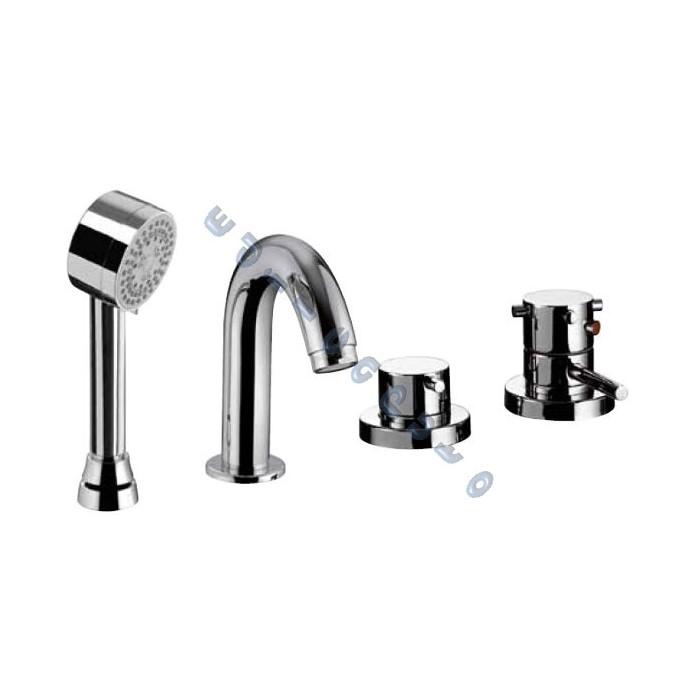 Rubinetto miscelatore termostatico bordo vasca 4 fori idrotech con deviatore doccia o erogazione - Bagno termostatico ...