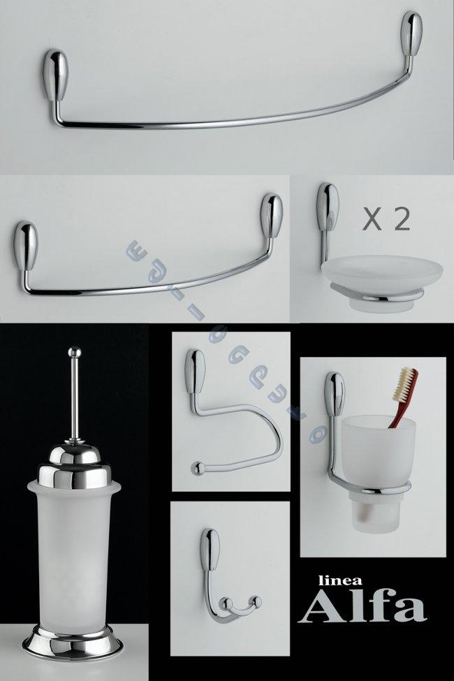 Accessori bagno composta da 8 pz modello alfa in ottone for Accessori bagno ebay