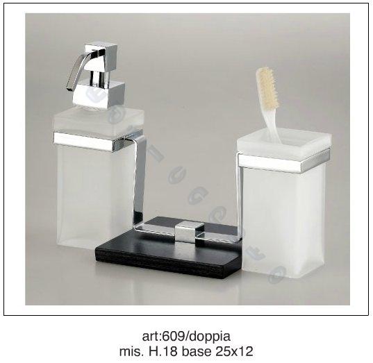 Accessori bagno quadra porta bicchiere e dosatore appoggio wenge e ottone cromo - Accessori bagno in ottone ...