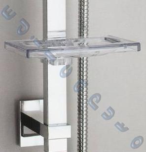 Saliscendi doccia modello roma quadrato finitura cromo - Portasapone doccia senza forare ...