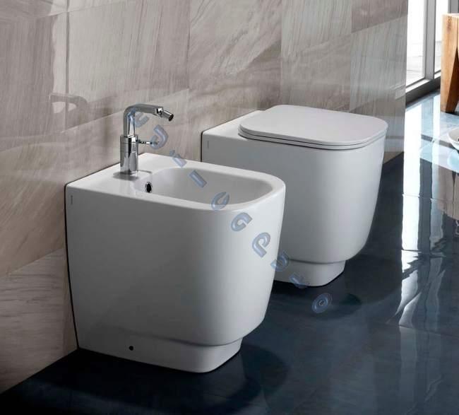 Sanitari per bagno a pavimento fusion 48 water bidet sedile frizionato ebay - Sanitari bagno misure ridotte ...