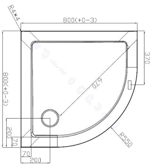 Piatto doccia 80x80 angolo tondo in acrilico bianco molto basso spessore 3,5 cm  eBay