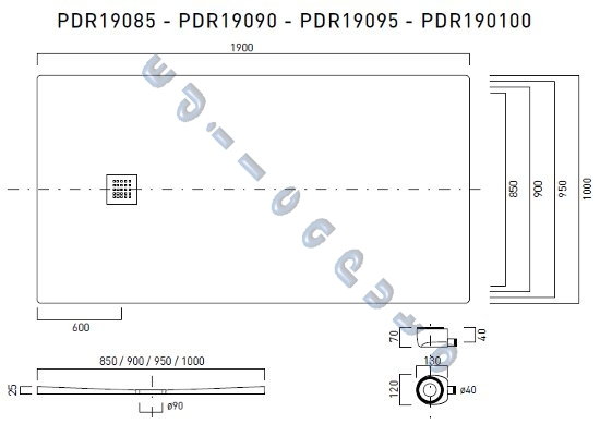 Piatto doccia rettangolare 190x100 slim sottile cm 2 5 in - Piatto doccia marmogres ...