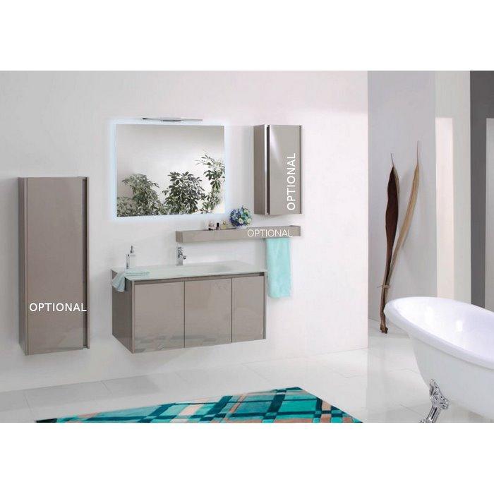 Mobile per bagno sospeso finitura tortora lucido stile moderno