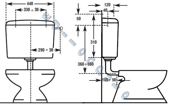 Cassetta scarico bagno Beta Plus a zaino con rivestimento interno ...