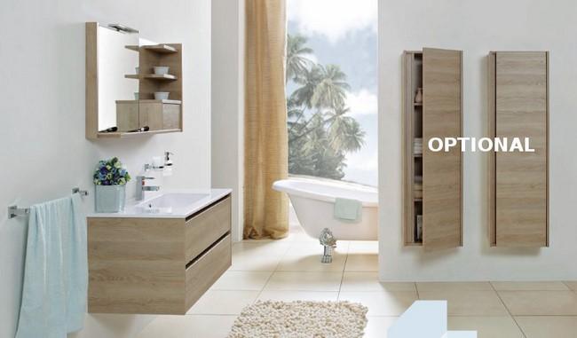 Mobile da bagno moderno sospeso lavabo in tecnocril specchiera cm