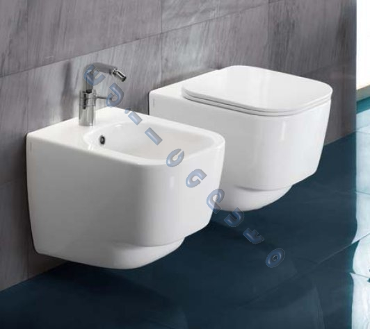 Sanitari bagno sospesi fusion 48 water bidet e sedile a - Misure water e bidet ...