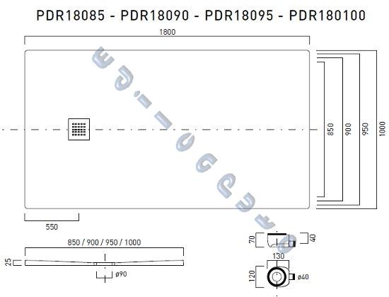 Piatto doccia rettangolare 180x100 slim sottile cm 2 5 in - Piatto doccia marmogres ...