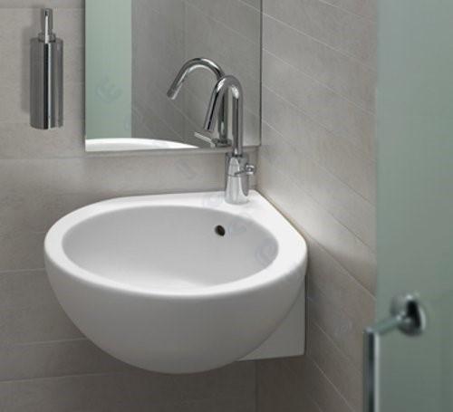Lavabo bagno sospeso o appoggio angolare dx 46 cm you me in ceramica hatria ebay - Lavabo angolare bagno ...