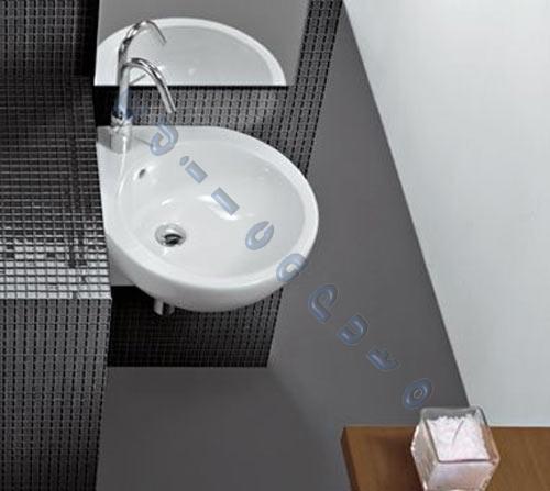 Lavabo bagno sospeso o appoggio ad angolo sx 46 cm you me in ceramica hatria ebay - Lavabo angolare bagno ...